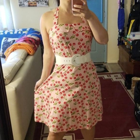 Heart Throb Dresses & Skirts - Pink Rockabilly Pin Up Cherry Halter Dress XL